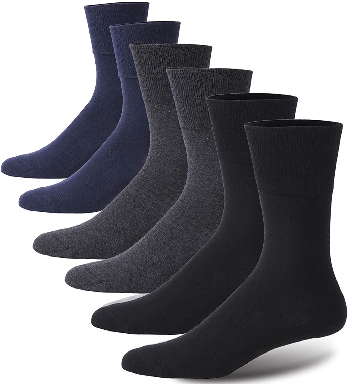 Forcool Diabetic Socks Womens, Men's Non Binding Loose Top Diabetes Socks Crew Dress Cotton Edema Neuropathy Circulation Cushion Socks, Medium, 2 Pairs Dark Gray&2 Pairs Black&2 Pairs Navy Blue