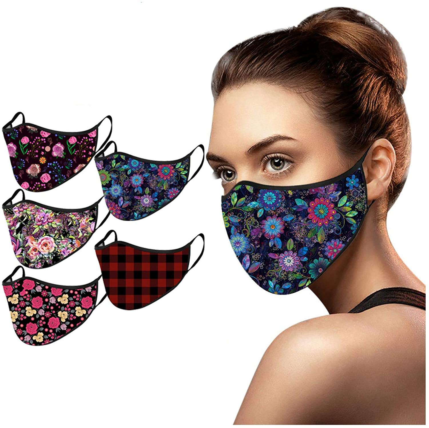 Adult's Reusable Washable Face Bandanas for Women Men Comfortable with Print for Outdoor Office Running Cycling (5PC, B)