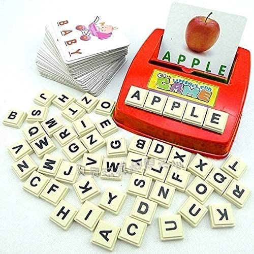 XINSHUN English Word Learning Machine Puzzle Toy Letters Machine Card Spelling Game Educational Toys for Kids Literacy Game Cards(Random Color)