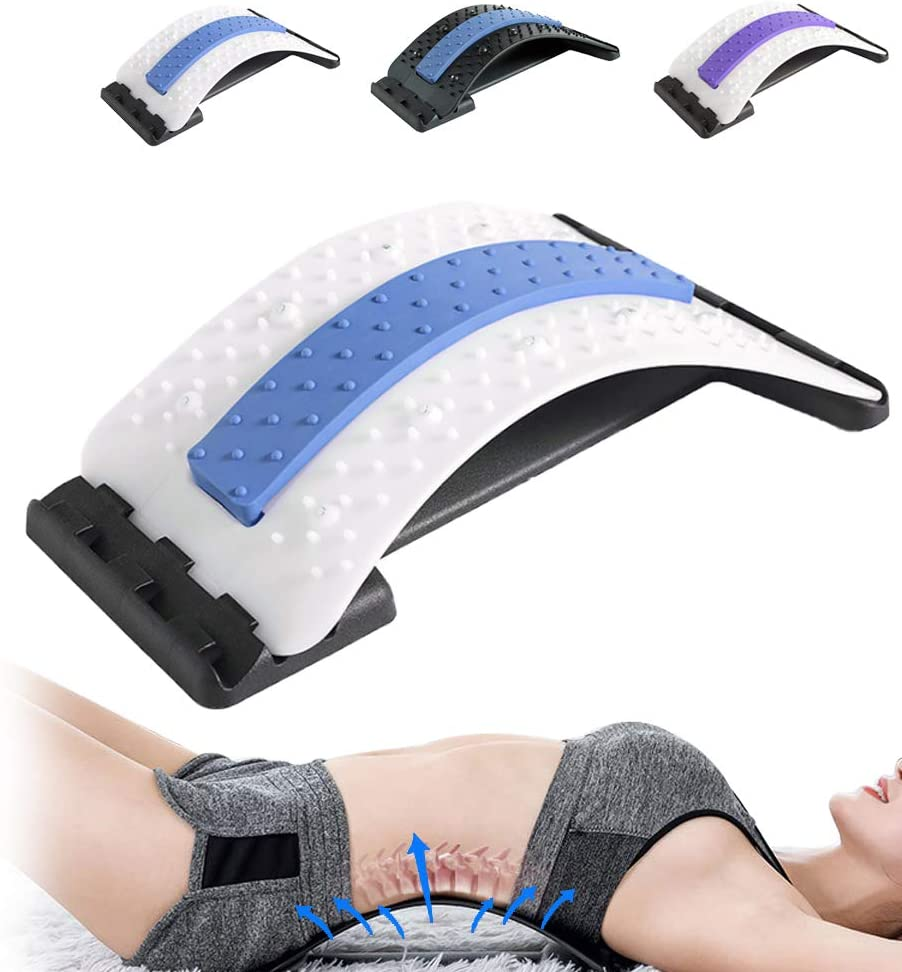 Back Stretcher Lumbar Support Device Lumbar Back Pain Relief Device Back Massager Lumbar Pain Relief for Sciatica Herniated Disc Spinal Stenosis (White Blue)