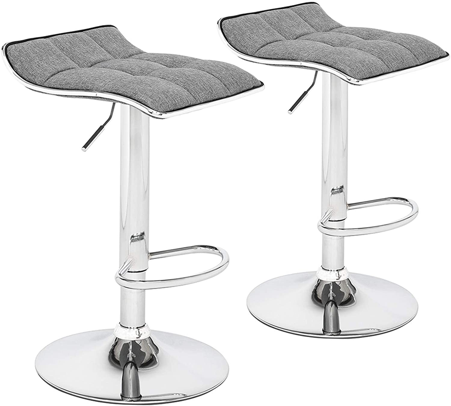 Soft-Packed Cotton & Linen Fabric Square Board Barstool with Curved Foot/Salon Stool Counter Height Game Chair Patio Bar Stools/Set of 2/Dark Gray