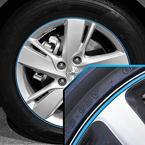 Upgrade Your Auto Wheel Bands Sky Blue in Black Pinstripe Trim for Chevrolet Spark 13-22