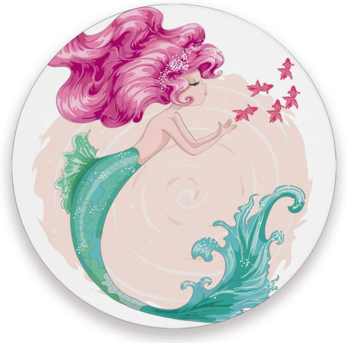 Olinyou Watercolor Mermaid Fish Coasters for Drinks Set of 4 Absorbent Ceramic Stone Round Coaster with Cork Base