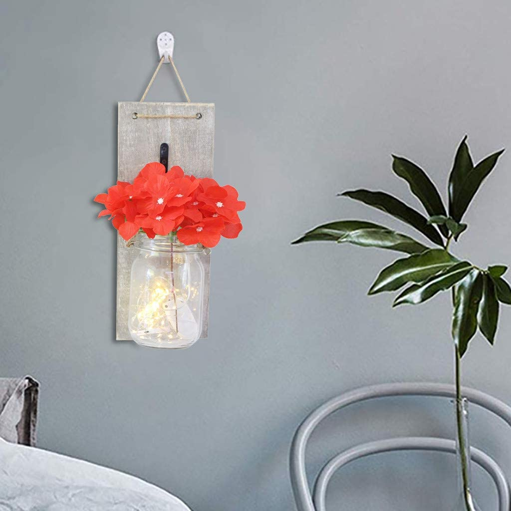 Bessbest 1Pc Home Retro Wall Decoration Light String Silk Flower Glass Bottle Daily Home Decorations Farmhouse Wall Decor (Red)
