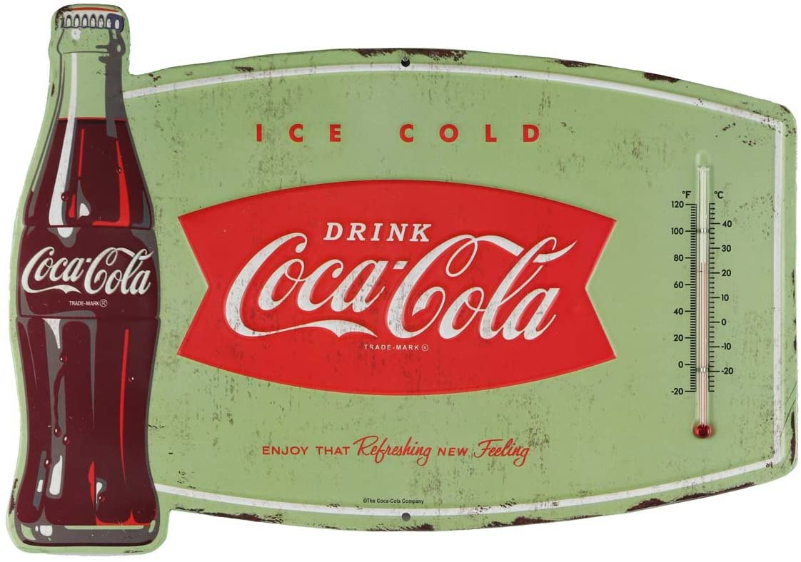 Open Road Brands Coca-Cola Vintage Retro Ice Cold Thermometer - an Officially Licensed Product Great Addition to Add What You Love to Your Home/Garage Decor