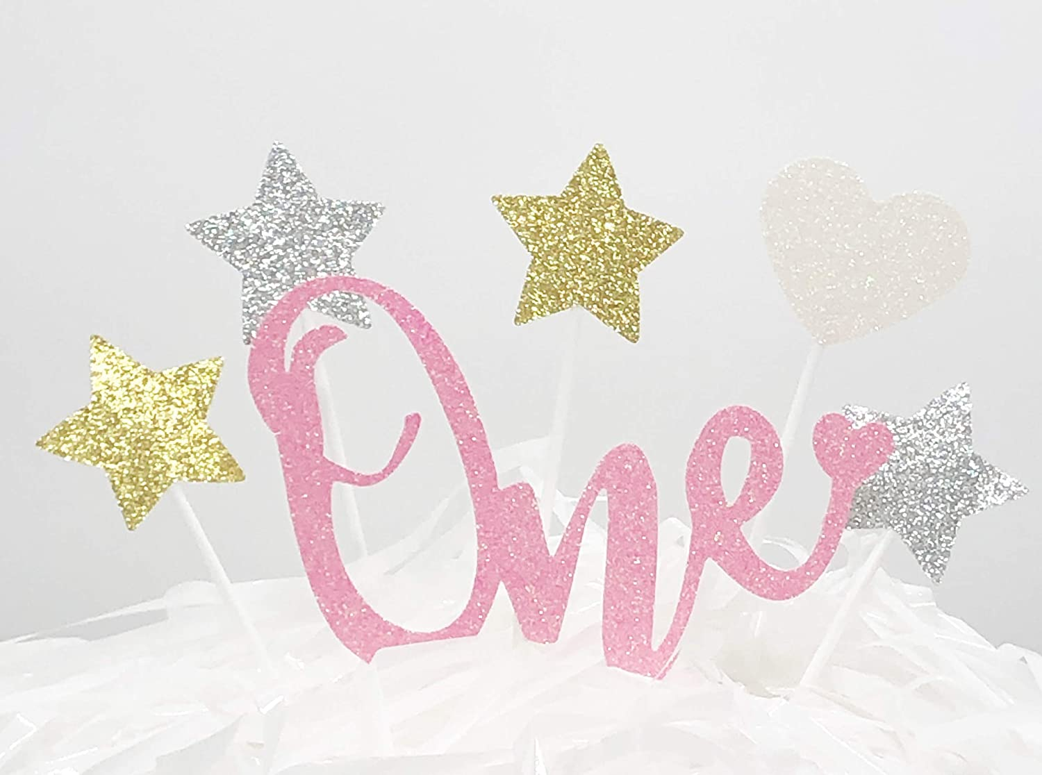 AILEXI 6 Counts Glitter Happy Birthday or Anniversary Cake Decorating Toppers - One Set - Pink