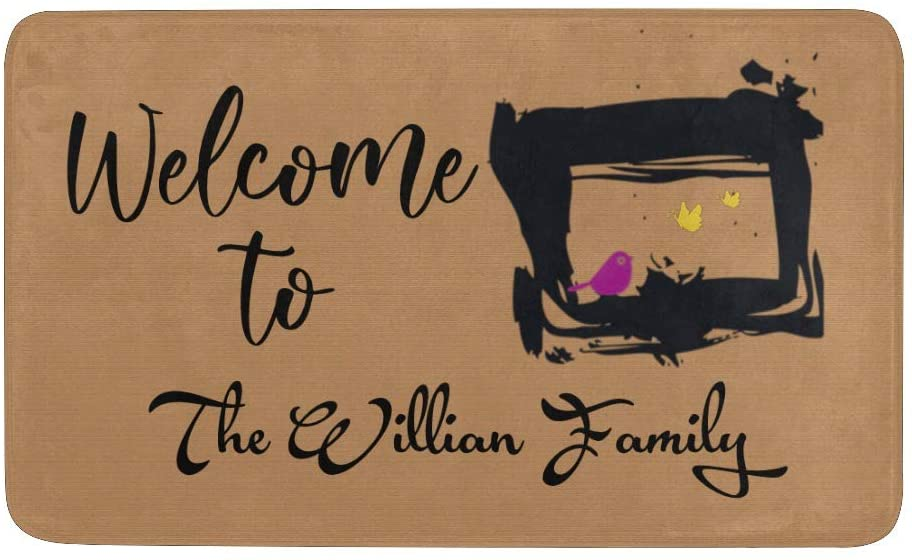 CUXWEOT Custom Doormat Personalized Welcom to The William Family Mud Door Mat with Name Decorative Entry Rug Garden Kitchen Mats 23.6 x15.7 Inch