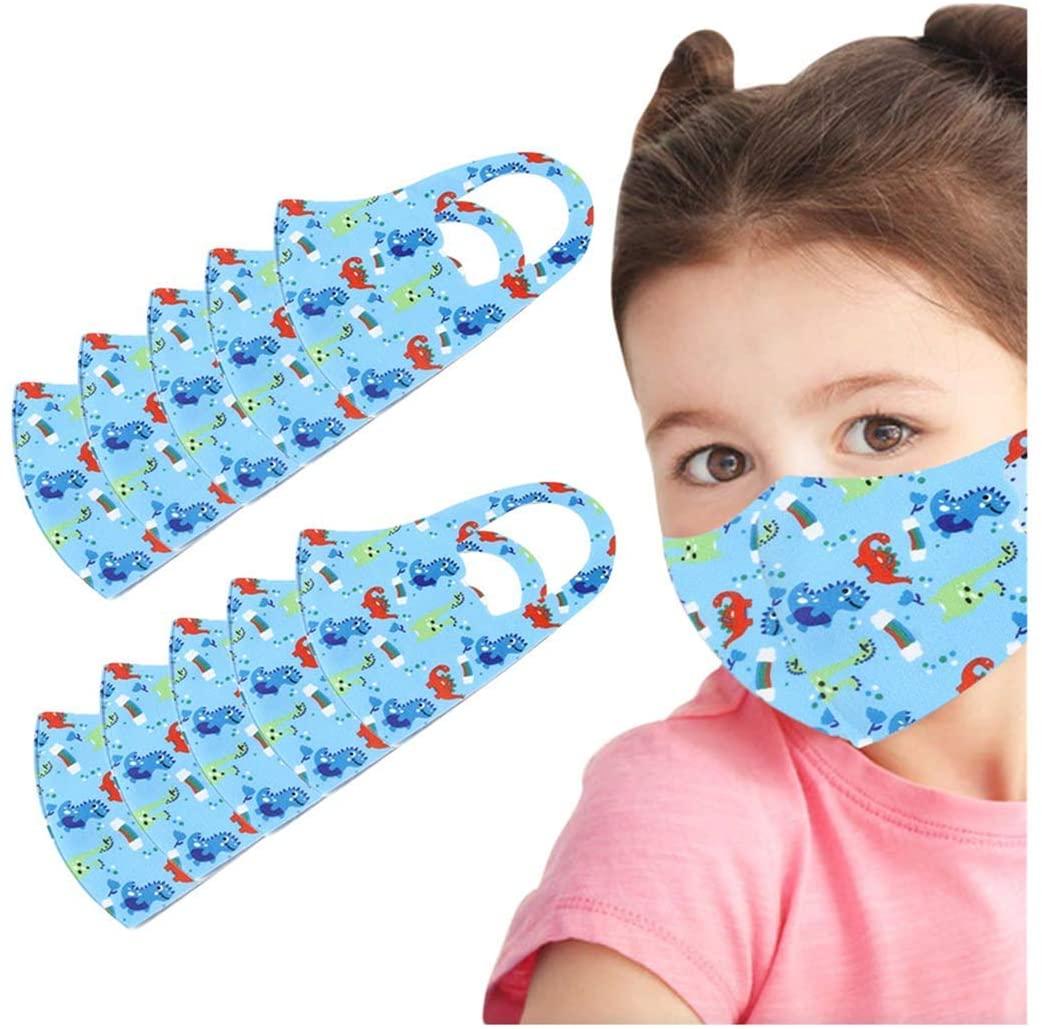 10 pcs Unisex Ice Cloth Cotton Face_Masks Covering Reusable Washable Anti-Dust Protetive Mouth Face Bandana for Kids