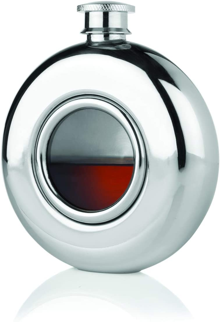 Viski Scope Stainless Steel Flask, 5 oz, Silver