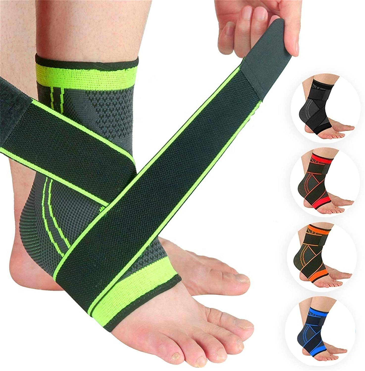 Ankle Brace Compression Support Adjustable Sleeve (Pair) for Injury Recovery, Joint Pain and More, Arch Brace Support & Foot Stabilizer, Ankle Wrap Protect Against Ankle Sprains or Swelling