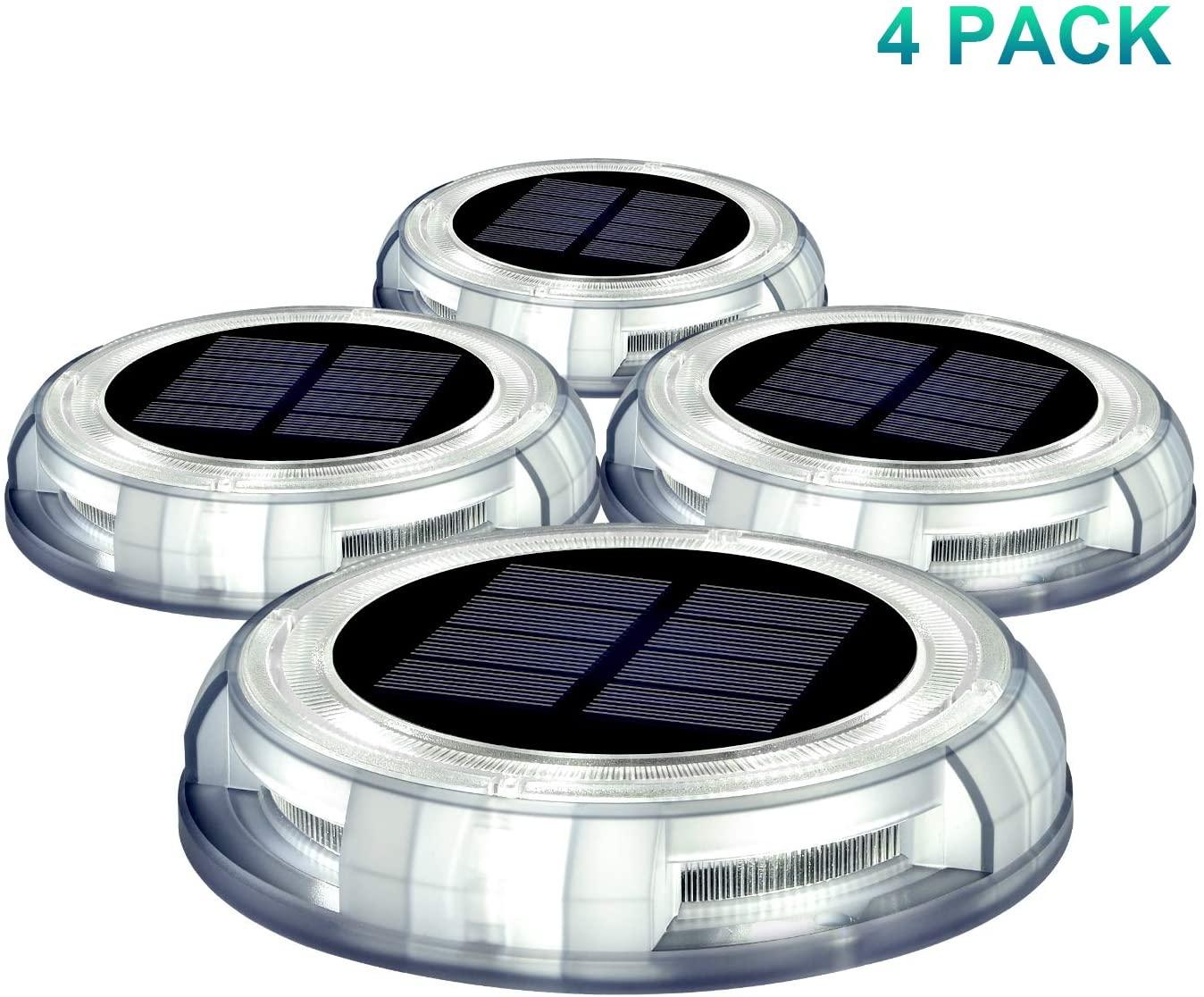 Solar Landscape Light, 4 Pack Solar Powered Deck Light Ground Lights for Stair Garden Yard, Outdoor Waterproof Holiday LED Dock Lights Step Lights (White)