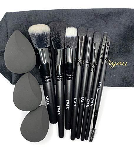 Makeup Brush Set SPATI 8 Pcs Professional Makeup Brush Set Black with Velvet Cosmetic Bag & 3 Pcs Makeup Sponges, Black