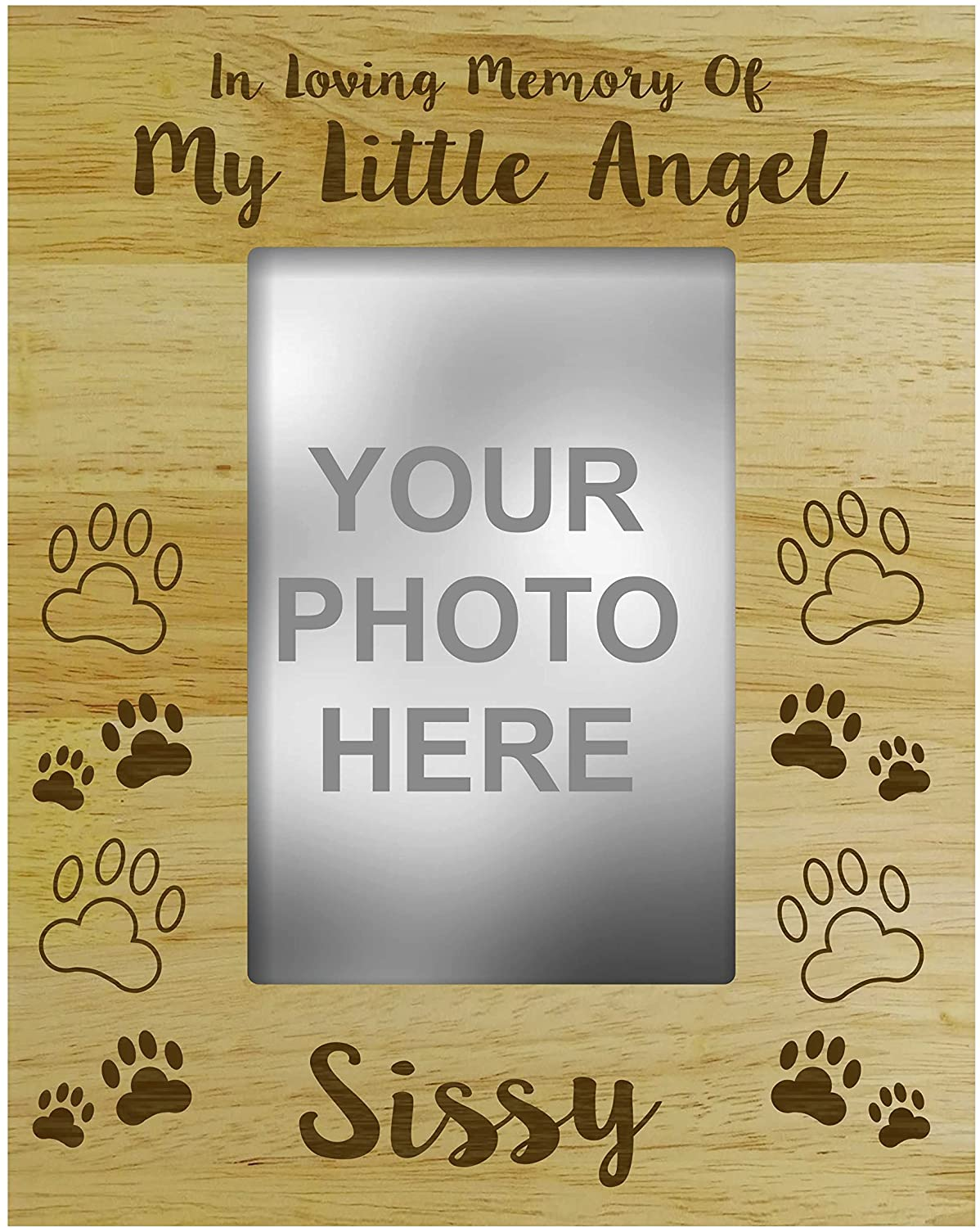 Darling Souvenir MADE WITH LOVE Personalized Wood Engraved Dog Memorial Picture Frame in Loving Memory of My Little Angel Loss of A Pet Gift, Customizable Quote 4 x 6 Inches Vertical