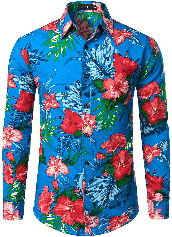 JOGAL Men's Flower Long Sleeve Casual Button Down Shirts