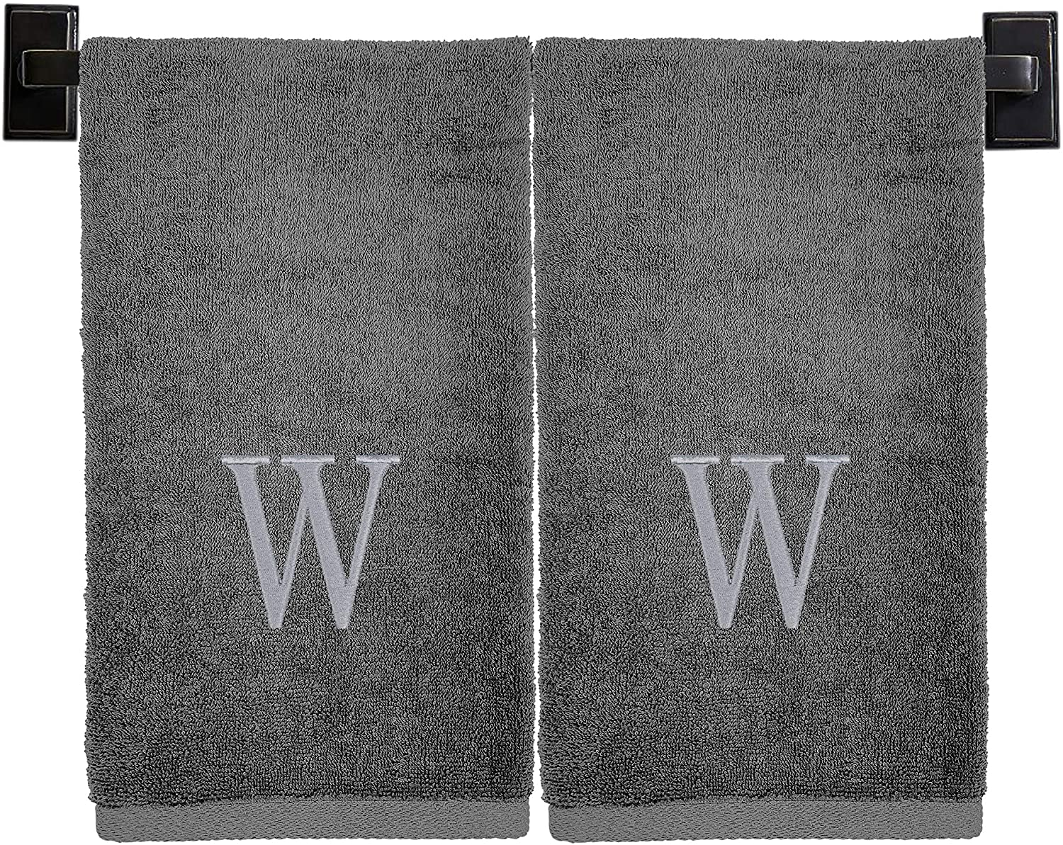 Custom Luxury Towels - Monogrammed Hand Towels, Set of 2, 100% Cotton, Made in USA, Luxury Hotel Quality, Embroidered Silver Thread Monogram