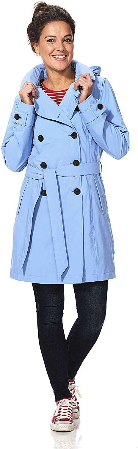 Happy Rainy Days Women's Classic Trench Coat with Removable Hood, Baby Blue, X Large