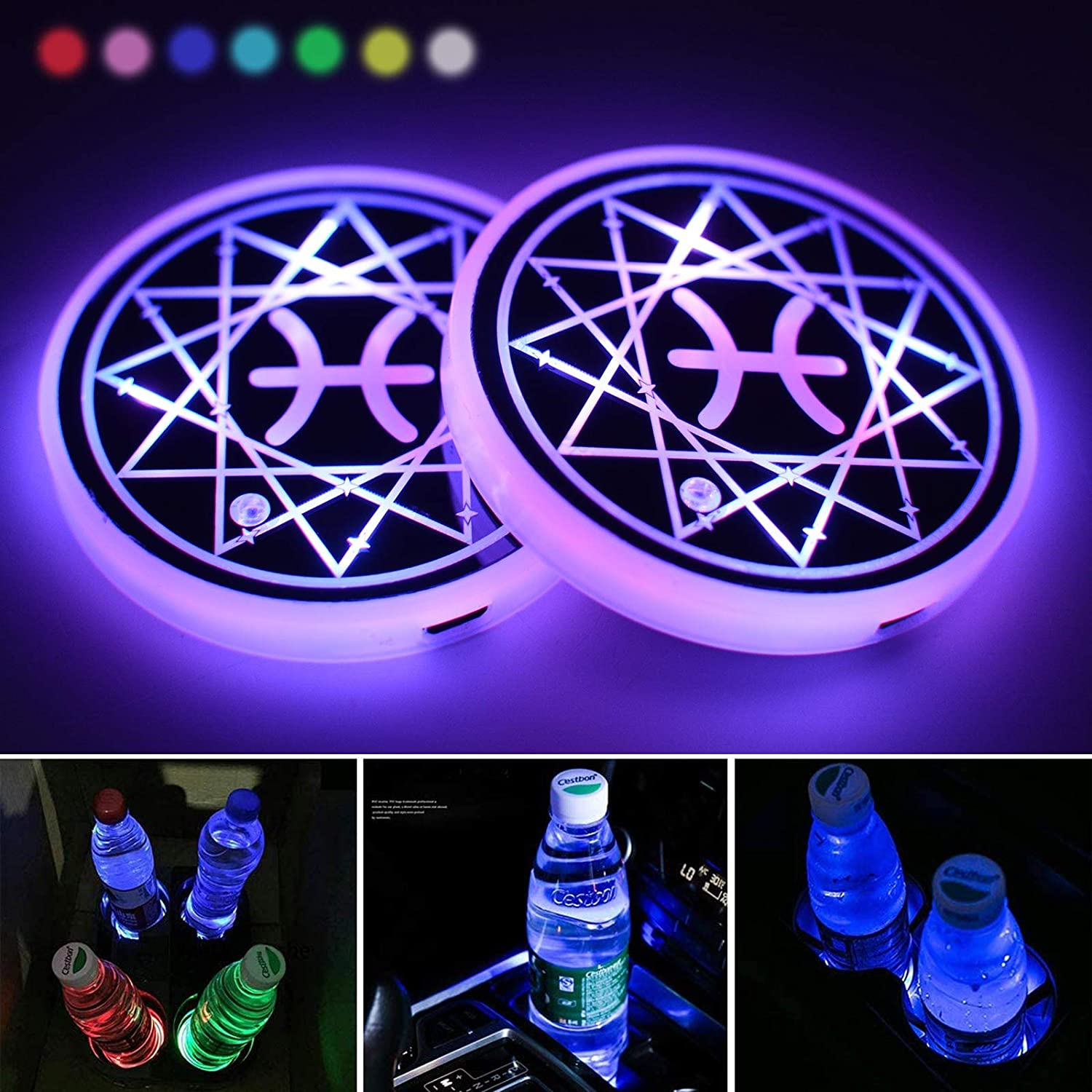 LED Cup Holder Lights,Pisces Car Cup Holder Coaster for Car with 7 Colors Changing USB Charging Mat, Luminescent Constellation Cup Pad Interior Atmosphere Lamp Decoration Light (Pisces)