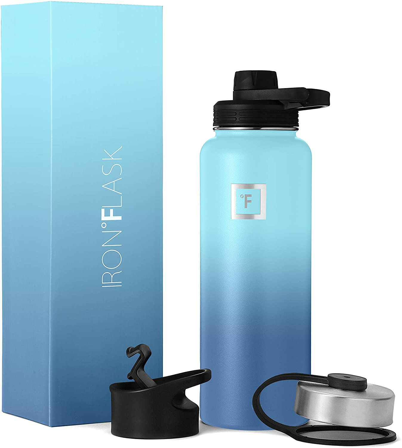 IRON °FLASK Sports Water Bottle - 40 Oz, 3 Lids (Spout Lid), Vacuum Insulated Stainless Steel, Hot Cold, Modern Double Walled, Simple Thermo Mug, Hydro Metal Canteen (Waves)