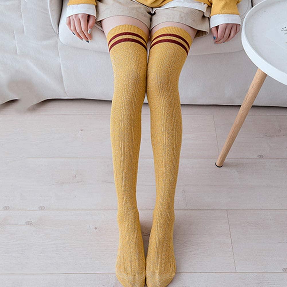 MoO1deer Womens Thigh High Socks, Over The Knee Socks, Leg Warmers, Women Color Block Striped Thigh High Knitted Long Socks Over The Knee Stockings for Women Yellow
