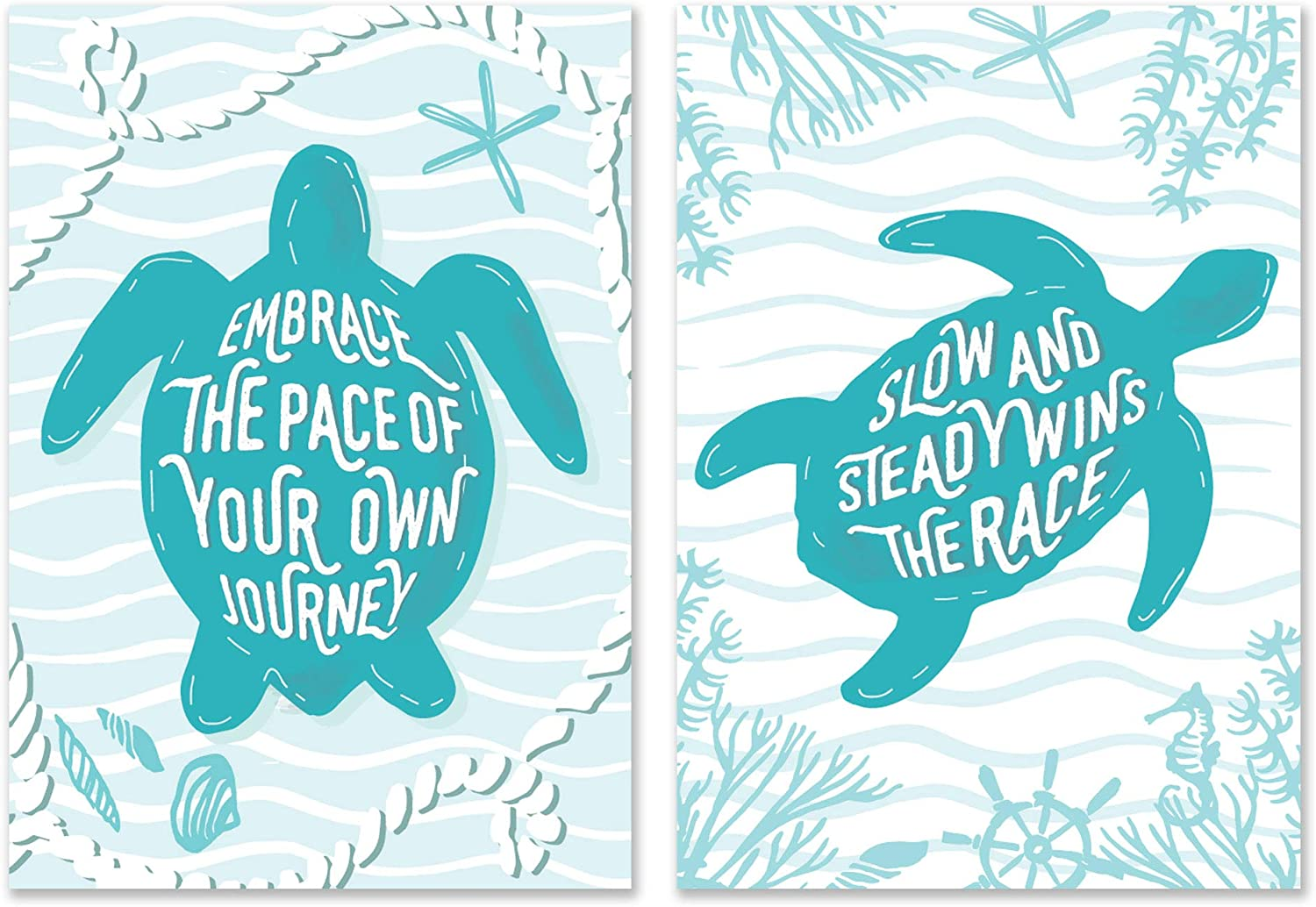 SCENE: YOURSELF Sea Turtle Decor, Sea Turtle Bathroom Decor, Turtle Wall Decor, Turquoise Wall Art, Sea Turtle Gifts, 11.7 x 16.5, Unframed, Paper, Matte Lamination, Set of 2 Posters, Turquoise