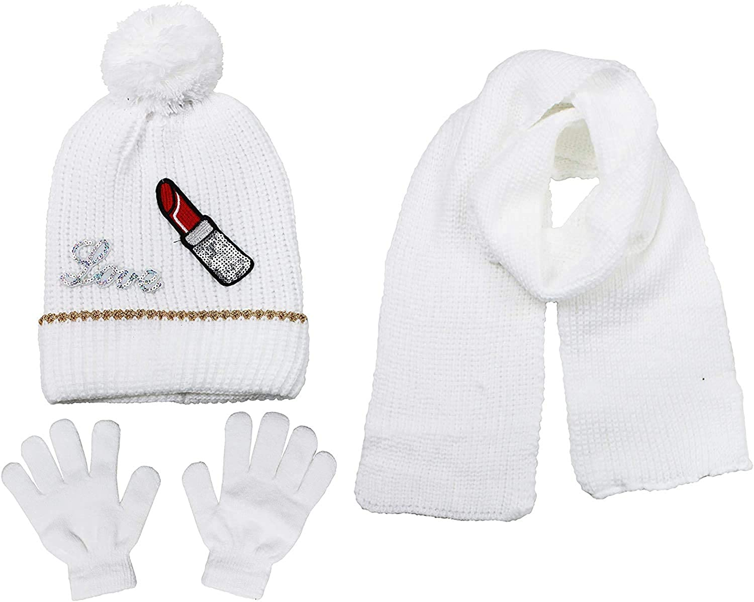 S.W.A.K Girls Knit Hat, Scarf And Gloves Set