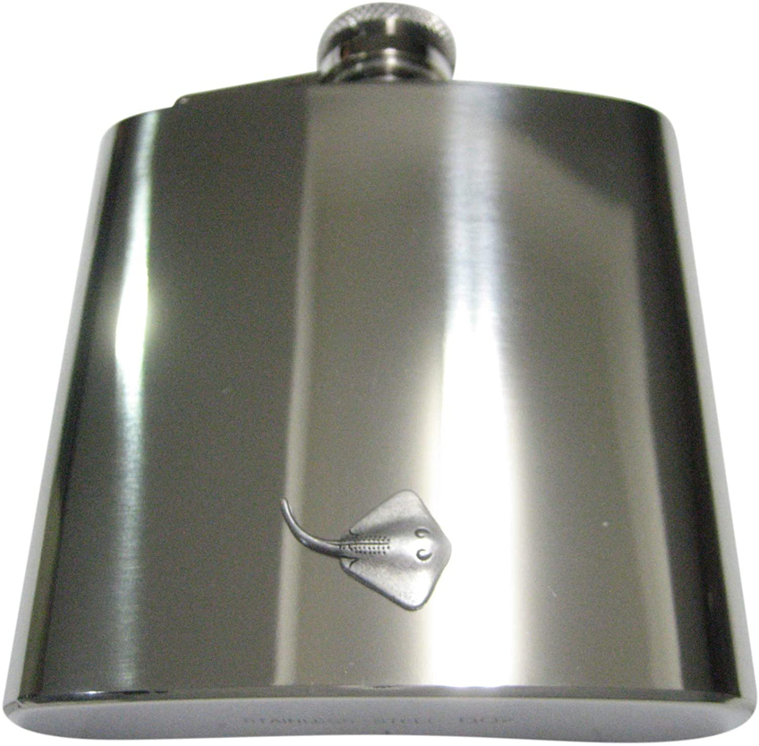 Kiola Designs Silver Toned Cute Sting Ray 6 Oz. Stainless Steel Flask