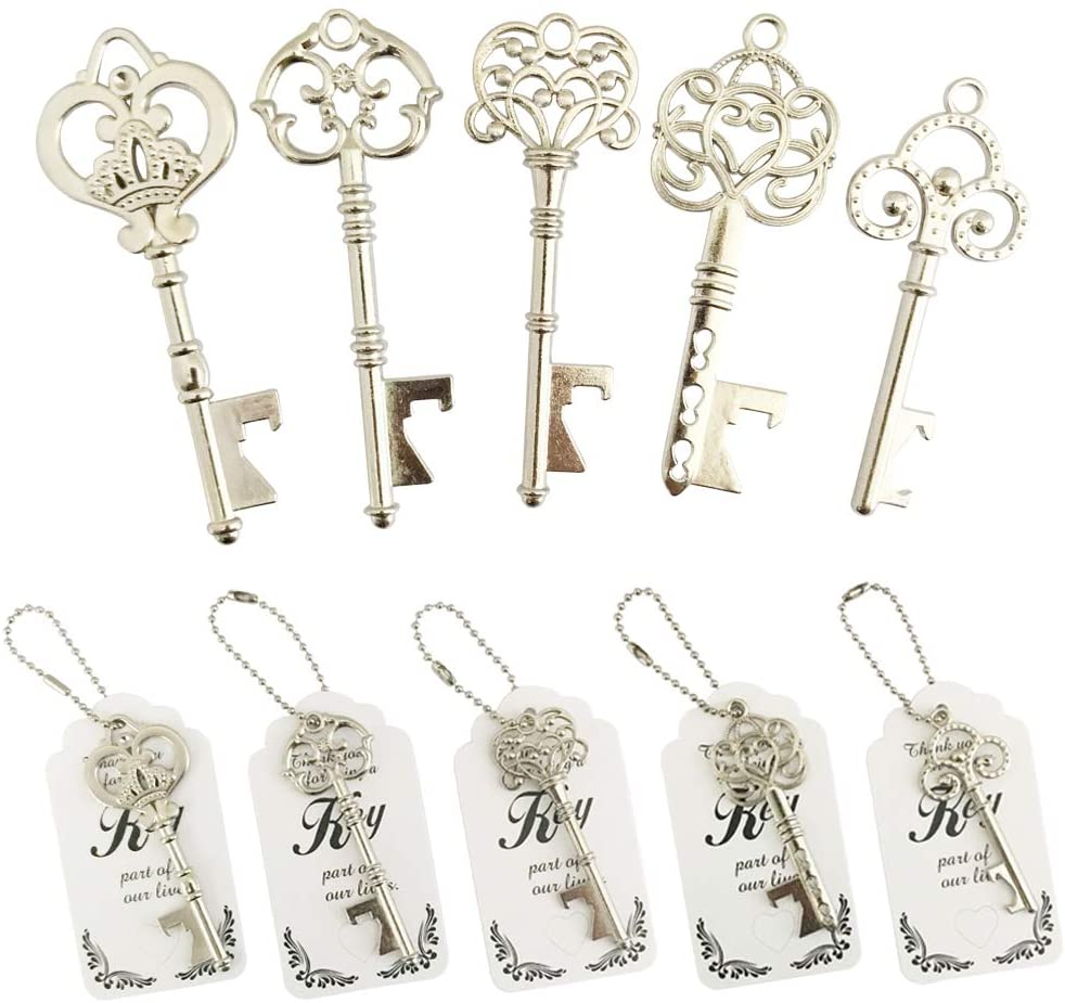 WODEGIFT 50pcs Skeleton Key Bottle Opener Wedding Party Favor Souvenir Gift with Escort Tag and Silver Chains (Silver,5 styles)