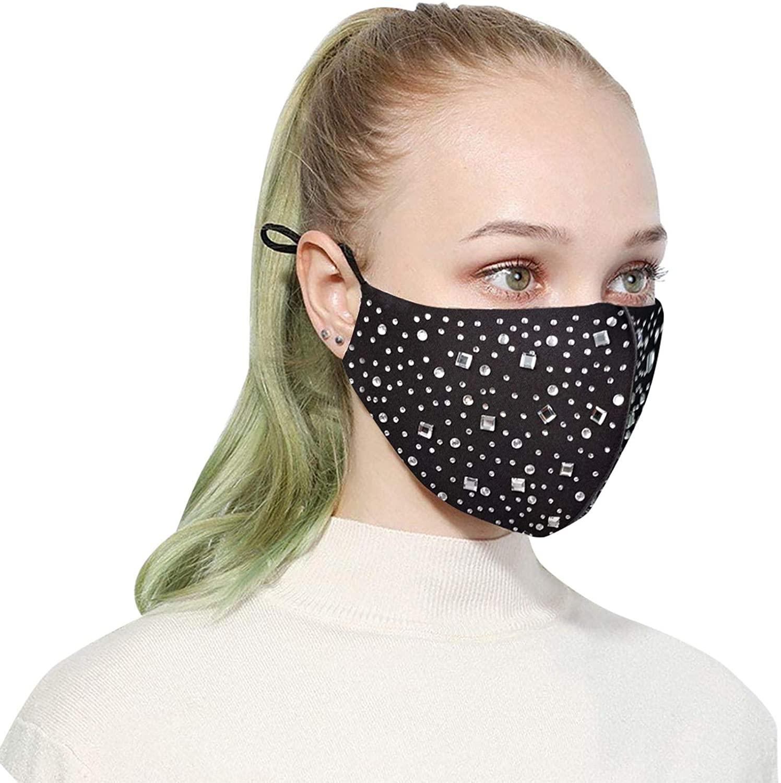 BEFOKA Reuse Rhinestone Glitter Shiny Facemask, Quick-Drying Ice Silk,Comfortable Fashion Skin-Friendly Bling Bling Face Covering for Women Men (E)