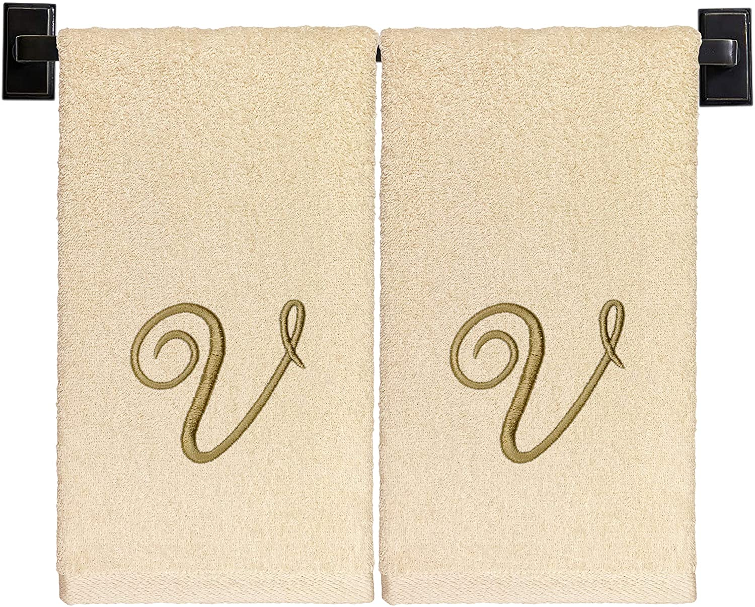 Monogrammed Hand Towels, Set of 2, 100% Cotton, Made in USA, Luxury Hotel Quality, Embroidered Gold Thread Script Monogram