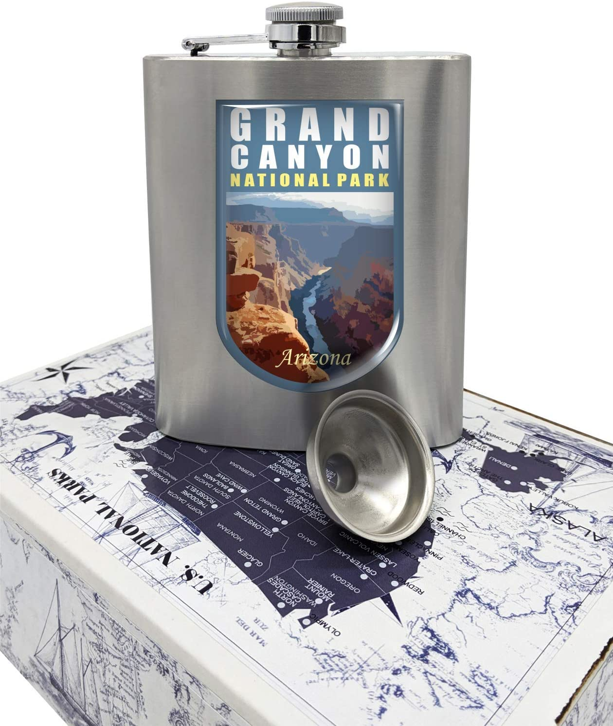 ProStickersUSA Grand Canyon National Park 3D Emblem Flask Stainless Steel & Funnel Set, 8 oz in Gift Box