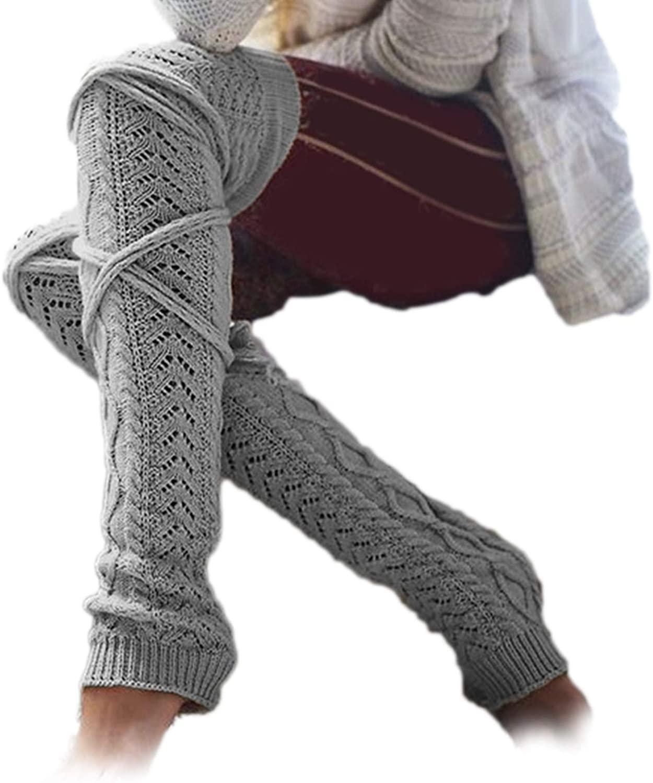 MoO1deer Womens Thigh High Socks, Over The Knee Socks, Leg Warmers, Autumn Winter Women Open Toe Socks Stockings Knitted Warmer Elastic Leg Sleeves for Women Light Grey One Size
