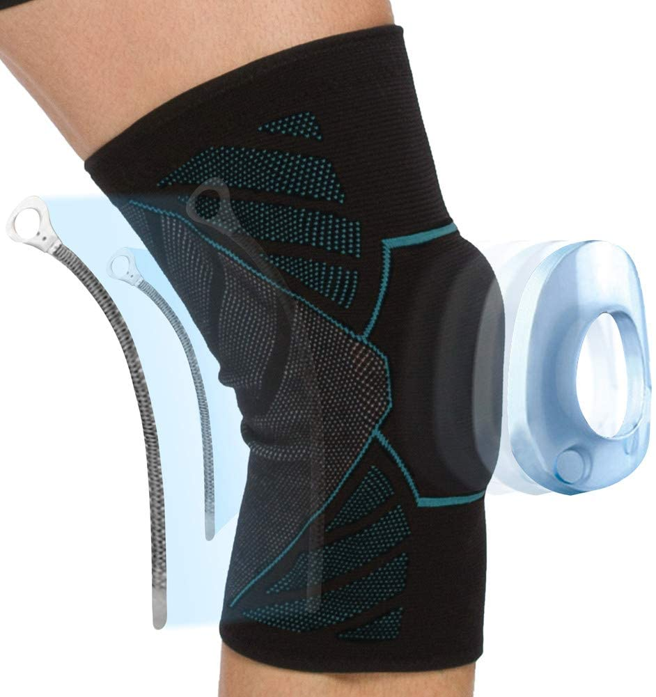 coastal rose Knee Brace,Knee Compression Sleeve Support for Men&Women with Side Stabilizers &Knee Pads for Running,Work Out,Meniscus Tear,ACL,Arthritis,Joint Pain Relief