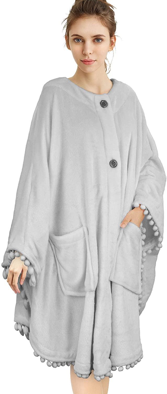 PAVILIA Wearable Blanket Poncho Cape Fleece   Angel Wrap with Pom Pom Fringe, Soft Snuggly Throw Wrap with Pockets for Women Gift (Light Grey)
