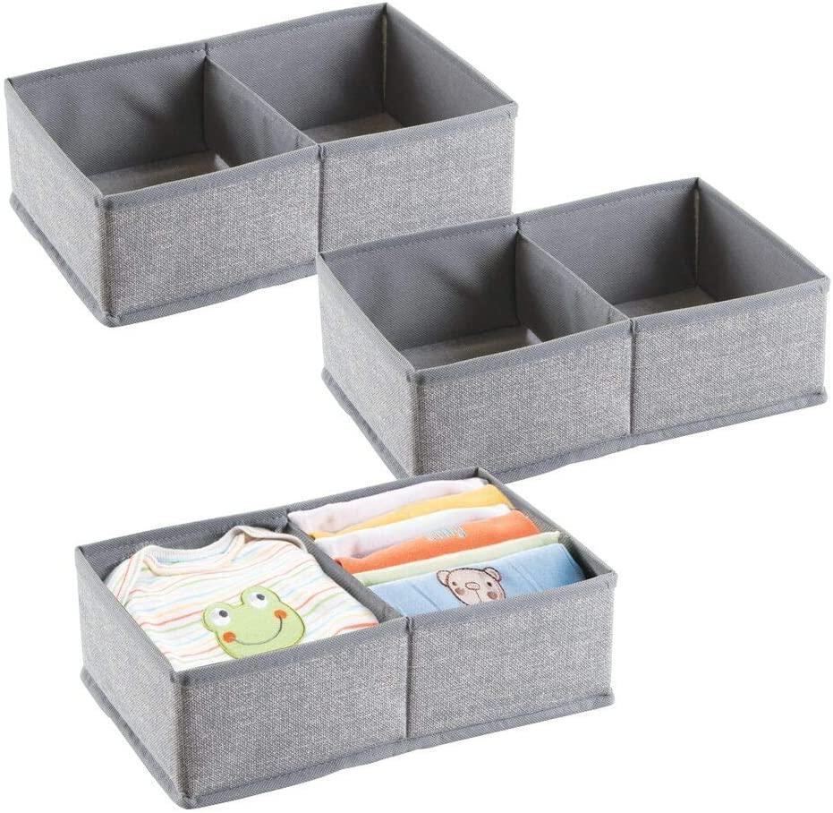 mDesign Soft Fabric 2 Section Dresser Drawer and Closet Storage Organizer for Child/Kids Room, Nursery, Playroom - Divided Organizer Bin - Textured Print, 3 Pack - Gray