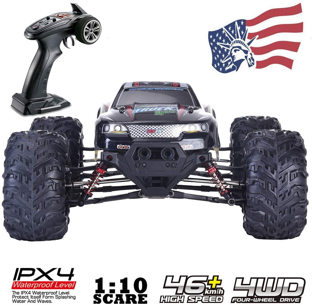 Callm Remote Control Truck 9125 - Large Size 1:10 Scale High Speed 46km/h 4WD 2.4Ghz Remote Control Truck 9125, Double Motors, 4-Wheel Drive RC Truck(Black)