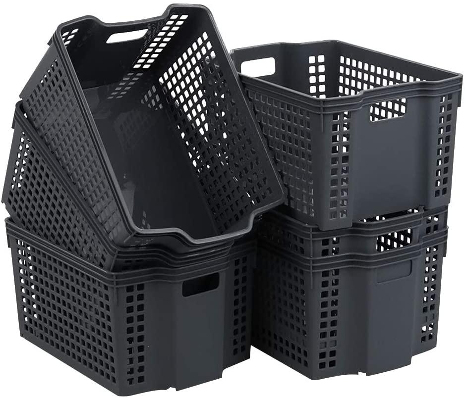 Vababa 6-Pack Gray Plastic Stackable Storage Baskets/Storage Bins