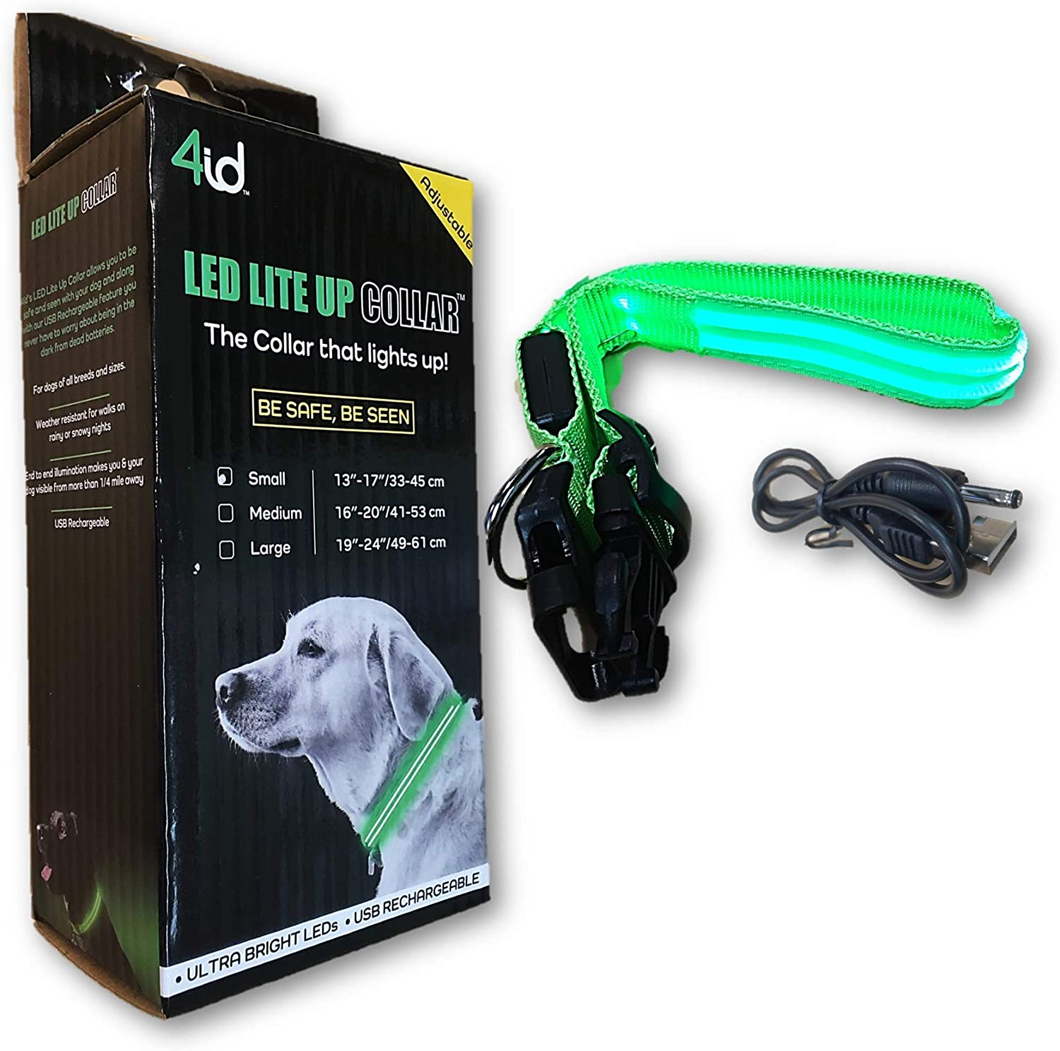 4ID | Ultra Bright, Rechargeable LED Lite Up Dog Collar | 2 Light Settings