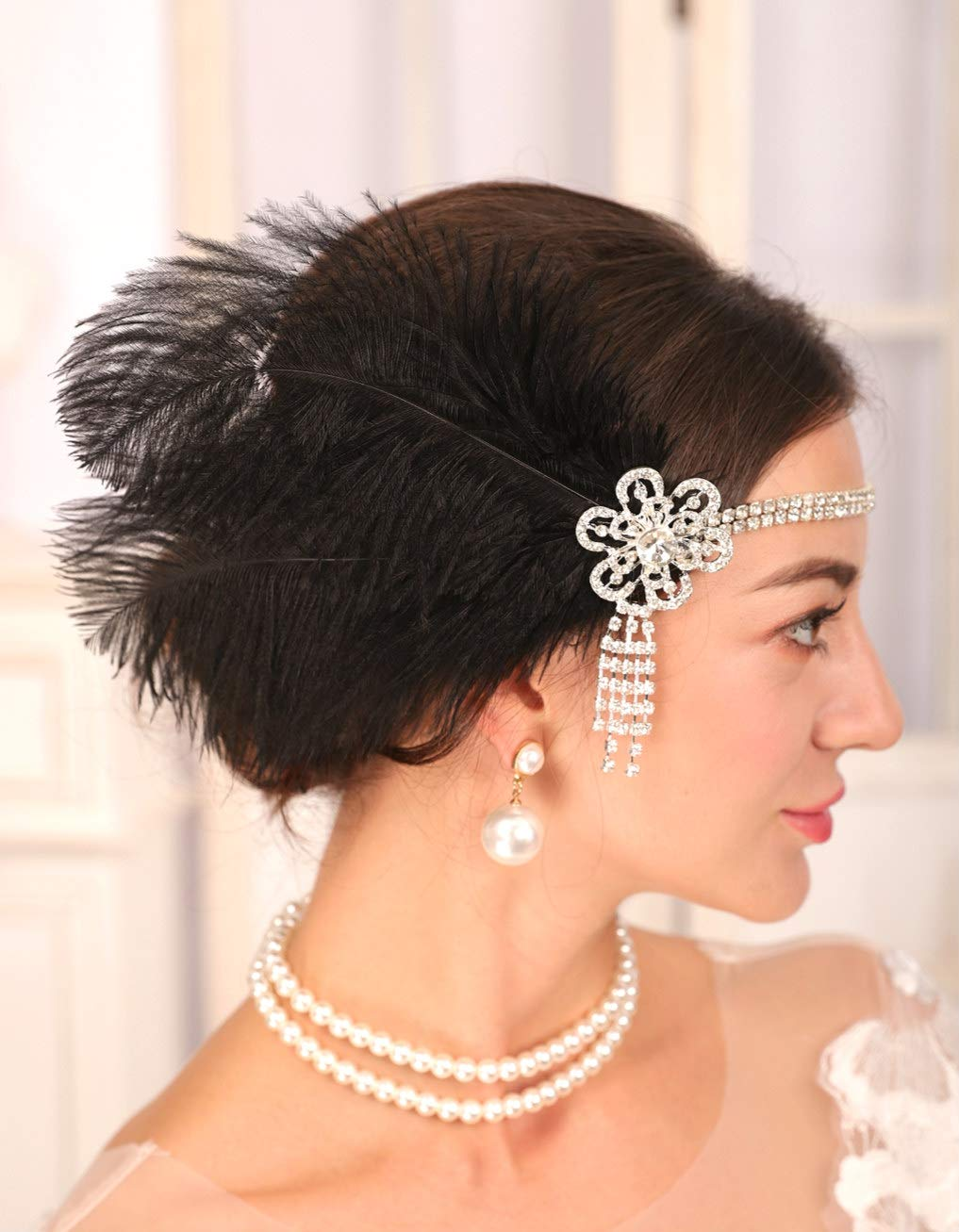 Sither 1920s Black Feather Headband Vintage 20s Headpiece with Silver Headband for Women 1920s Flapper Headpiece Hair Accessories for Cosplay Costume Party Halloween (crystal eadband)