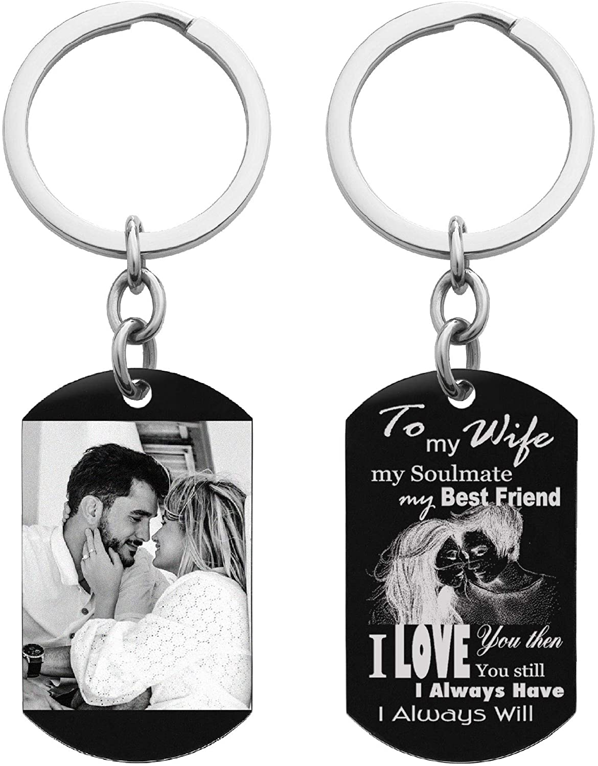 Queenberry to My Wife My Soulmate My Best Friend Custom Photo Personalized Text Message Dog Tag w/Dot Ball Chain Necklace 24 Key Chain - Handmade