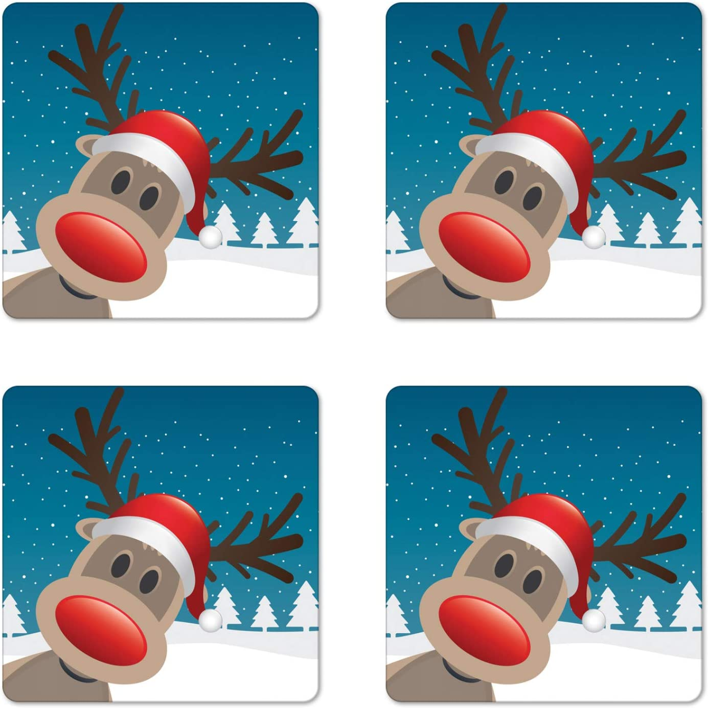 Ambesonne Christmas Coaster Set of 4, Rudolph the Reindeer with Santa Hat Holiday Kids Themed Fun Cartoon, Square Hardboard Gloss Coasters for Drinks, Brown Red Navy and White