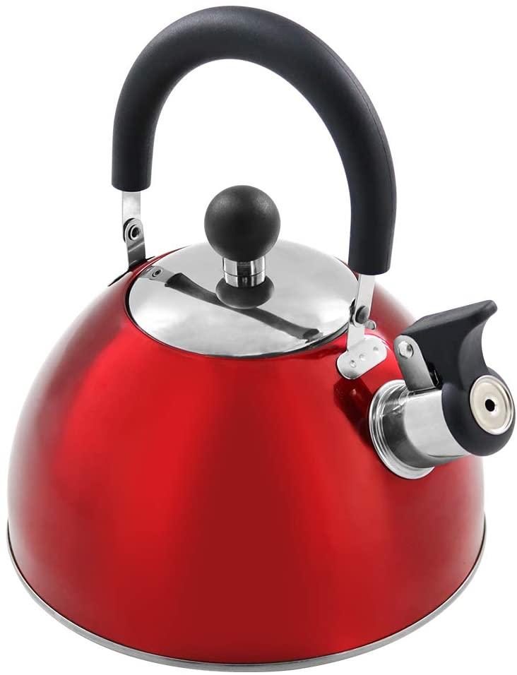 Tea Kettle Stovetop Teapot Stainless Steel Whistling Teakettle with 2.5 Liter / 2.2 Quart, Red