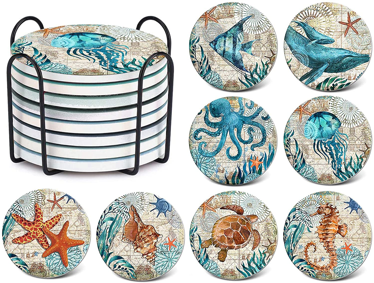 TEUVO Coasters for Drinks Cork Base Set of 8 with Holder, Sea Ocean Life Absorbent Coasters for Home, Cafe and Office, Housewarming Gift