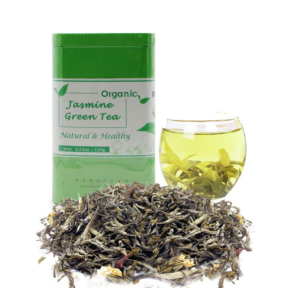 Jasmine Green Tea Loose Leaf Organic Best Herbal Green Tea Leaves Natural Tea Drink with Jasmine Flower Scent Flavor Rich Nutrition Vitamins
