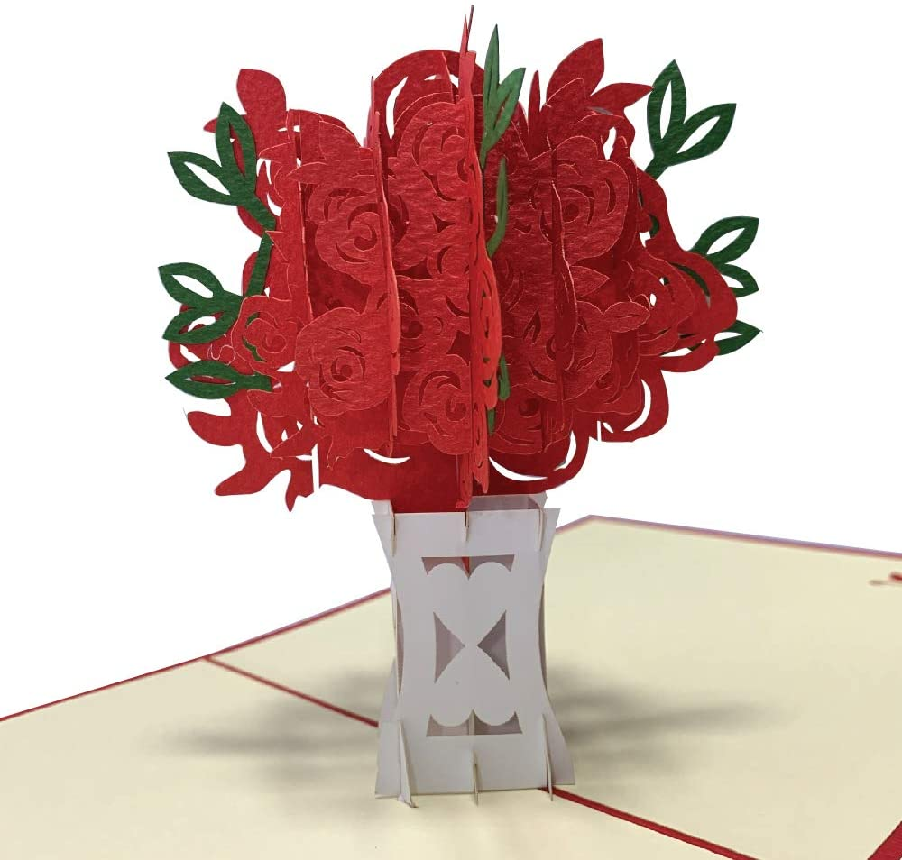 Grepaco 3D Pop Up Cards - 3D Card For Wife, Mom, Father, Birthday, Greeting, Valentines Day, Graduation, Wedding, Anniversary, All Occasion (Rose Bouquet)