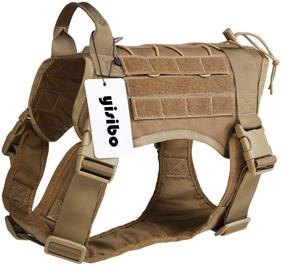 yisibo Military Dog Harness, Tactical Dog Vest with Moll System,3 Color 3 Size