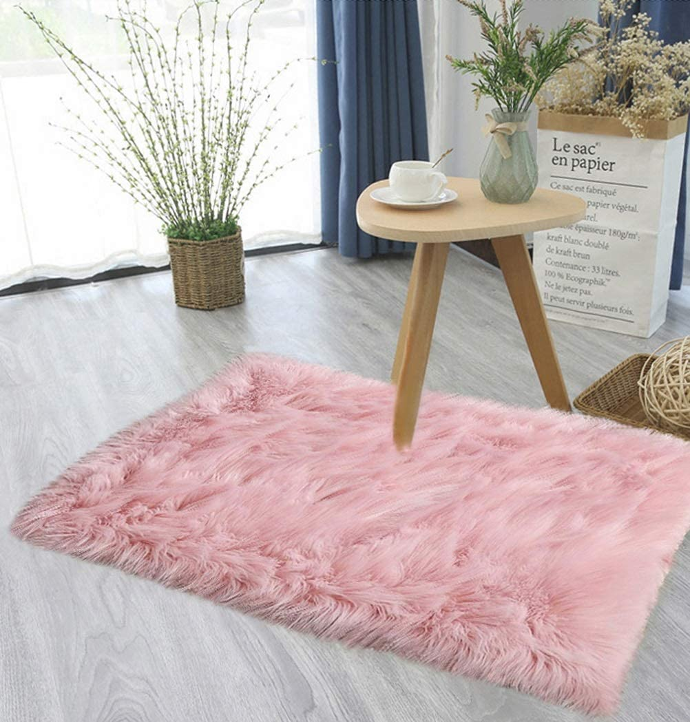 Haresle Washable Faux Fur Rug Soft Home Mat Fluffy Sheepskin Rugs for Bedrooms Small Rug, Pink/1.3x2 feet