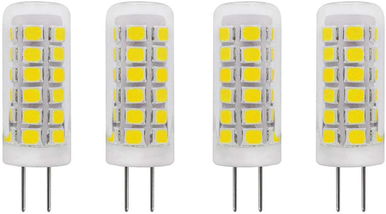2W G4 LED Bulb 120V Dimmable (20W Mini T3 G4 Bi-Pin Base Halogen Lamp) Glass Cover for Under Cabinet Lights, Puck Light, Ceiling Lights, Daylight White 6000K 250 Lumen, Pack of 4