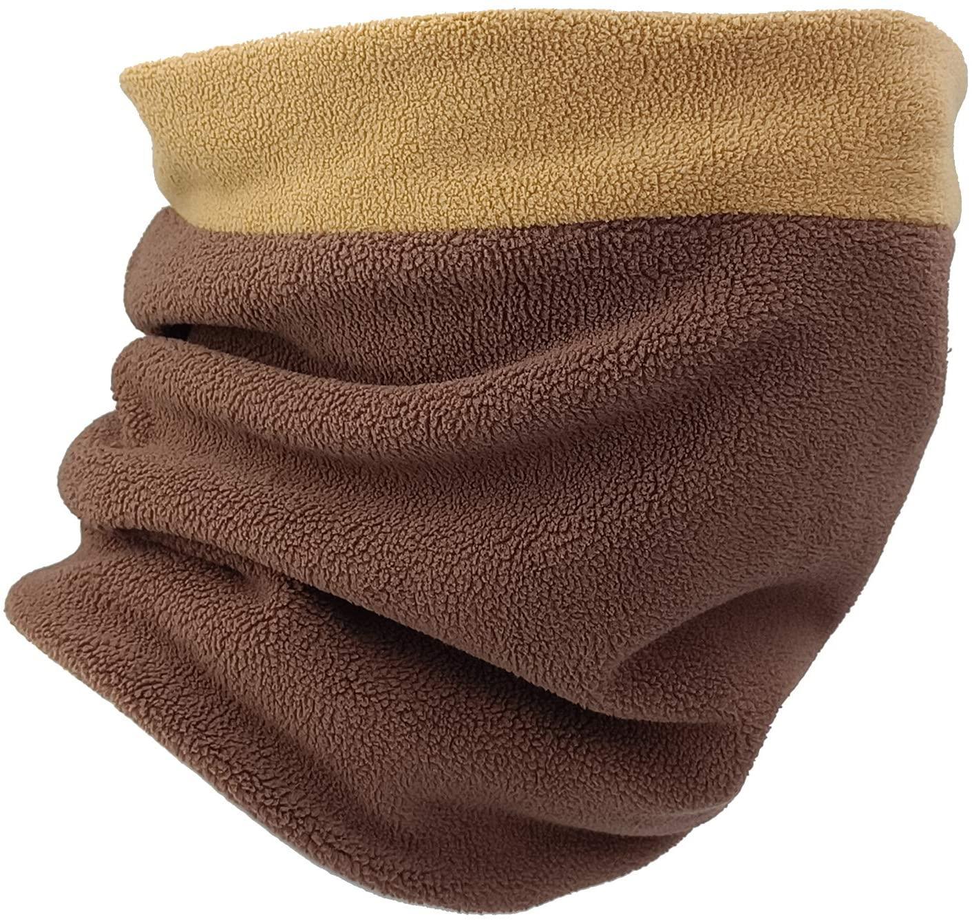 Fycert Neck Warmer - Winter Neck Gaiter & Balaclava for Men Women - Cold Weather Face Cover, Mask Scarf & Shield for Ski Snowboard (Khaki/Coffee)