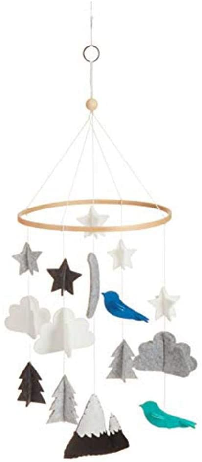 Baby Crib Mobile Stars,Clouds, Birds for Boys and Girls, Baby Crib Mobile Hanging Decoration Toy for Ceiling Hanging Nursery Decor