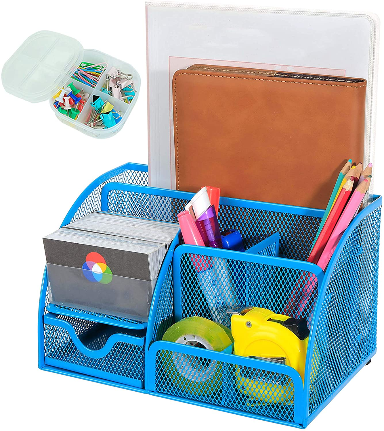 XYTLAX Desk Organizer Mesh Desktop Office Supplies Multi-Functional Caddy Pen Pencil Holder Stationery with 6 Compartments and 1 Drawer for Office, Home, School, Classroom (Blue)